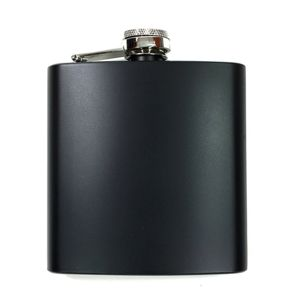 6 oz. Matte Black Laserable Stainless Steel Flask Thumbnail