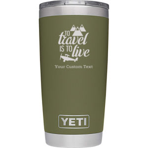 To Travel is to Live Personalized Yeti Tumbler Thumbnail