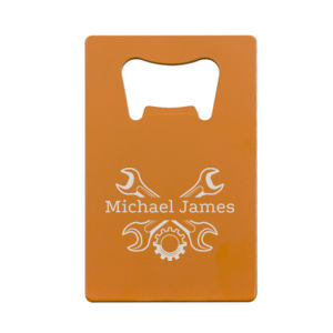 Personalized Credit Card Bottle Opener for a Mechanic Thumbnail